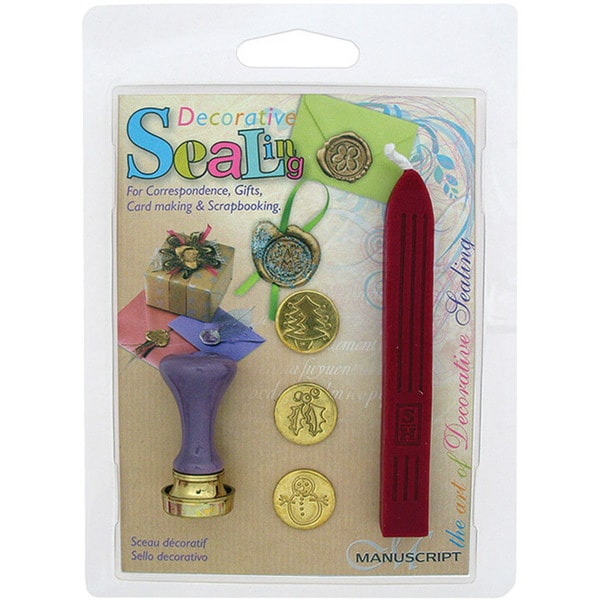 Decorative 'Christmas Tree, Holly & Snowman' Coins Sealing Set with Red Wax