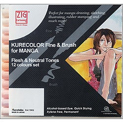 Zig Cartoonist Flesh & Natural Kurecolor Fine & Brush Markers (Pack of 12)