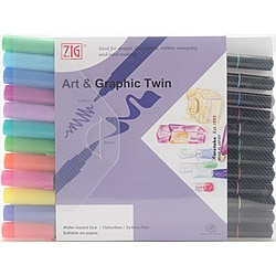 Zig Art & Graphic Bright Twin Marker Set (Set of 12)