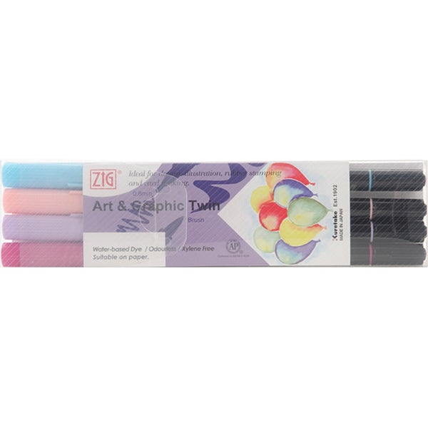 Zig Art & Graphic Kind Hearted Twin Marker Set (Pack of 4)