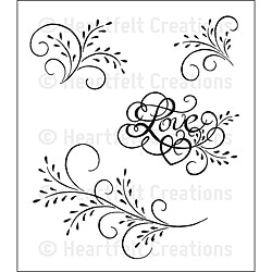Heartfelt Creations 'Feather Glass Flourish' Cling Rubber Stamp Set