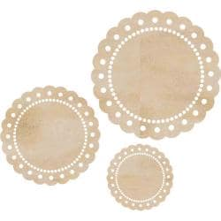 Kaisercraft Scallop Doilies Wood Flourishes (Pack of 3)