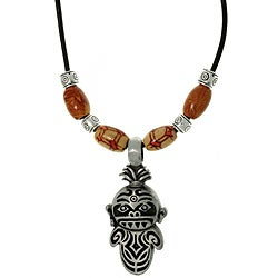 CGC Pewter Unisex Tiki Medicine Man and Wooden Bead Necklace
