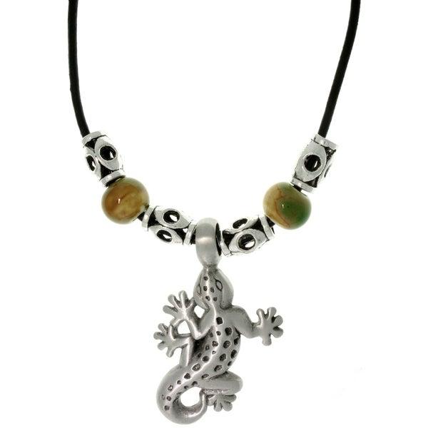 Pewter Unisex Gecko and Glazed Porcelain Bead Necklace 8940318