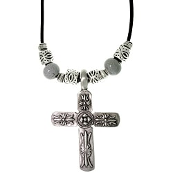 CGC Pewter Men's Cross and Glazed Porcelain Bead Necklace