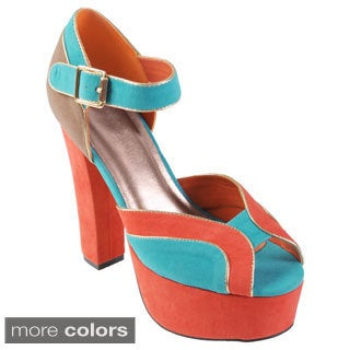 Hailey Jeans Co Women's 'Bunny' Multi-colored Platform Heels