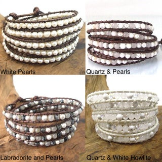 Natural Gemstone Snake Cord Leather 5-wrap Bohemian Style Bracelet (Thailand)