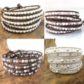 Natural Gemstone Snake Cord Leather 5-Wrap Bracelet (Thailand)