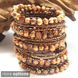 Mystique Brown Freshwater Dyed Pearl Wrap-Around Bracelet (Thailand)
