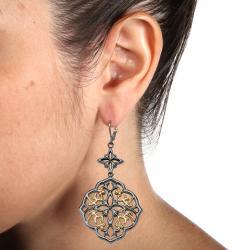 PalmBeach Black Ruthenium and Goldtone Earrings Bold Fashion