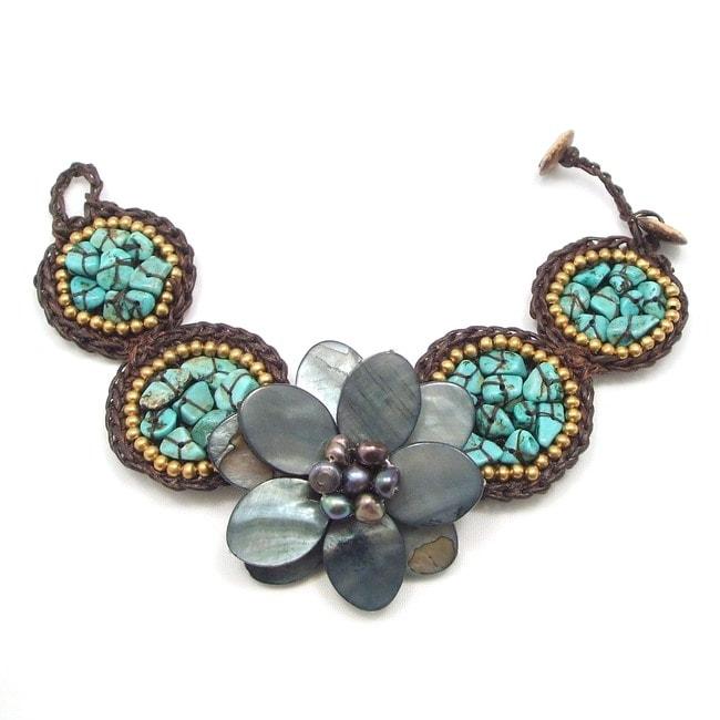Black Mother of Pearl Floral Center Turquoise Bubble Bracelet (Thailand)