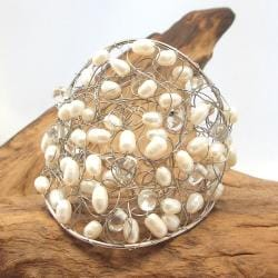 Freshwater White Pearls Interlocking Web Adjustable Cuff (Thailand)