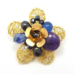 Brass Wire Works Blooming Rose Blue Chalcedony Stone Pin/Brooch (Thailand)