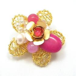 Brass Wire Works Blooming Rose Pink Quartz Stone Pin/Brooch (Thailand)