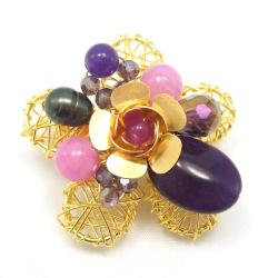 Brass Wire Works Blooming Rose Purple Amethyst Stone Pin/Brooch (Thailand)