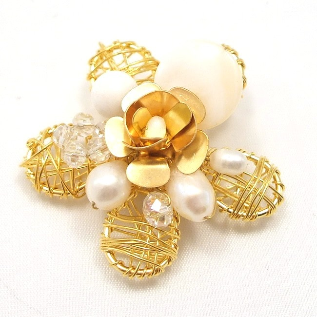Brass Wire Works Blooming Rose White Mother of Pearl Pin/Brooch (Thailand)