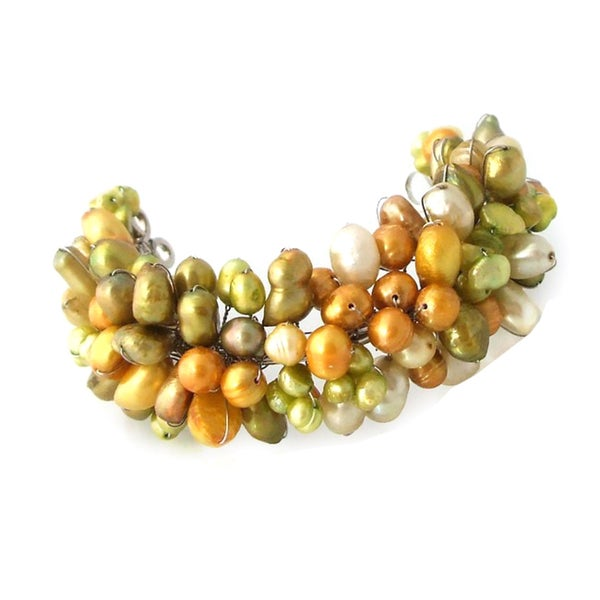 Green Forest Freshwater Dyed Pearls Adjustable Cuff (Thailand)