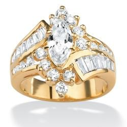 Ultimate CZ 14k Goldplated Marquise-cut Cubic Zirconia Ring