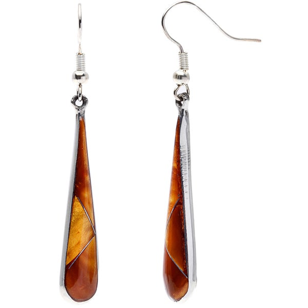 Teardrop Tiger Eye and Alpaca Silver Earrings (Mexico)