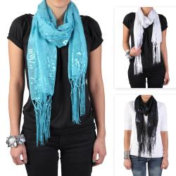 Hailey Jeans Co Women's Fringe Detail Sequined Scarf
