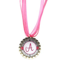 Pink Monogram Bottle Cap Necklace