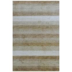 Indo Hand-Knotted Tibetan Beige/Ivory Wool Rug (4' x 6')