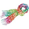 'Peace and Love' Rainbow Tie-Dye Cotton Scarf