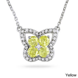 Miadora 14k White Gold 1/2ct TDW Yellow/ Blue/ Pink and White Diamond Necklace (H-I, I1-2)