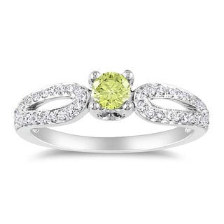 Miadora 14k White Gold 1/2ct TDW Yellow and White Round-cut Diamond Ring (H-I, I1-I2)