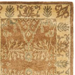 Handmade Tree Light Brown/ Beige Hand-spun Wool Rug (2'3 x 12')