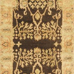 Handmade Tree Brown/ Light Green Hand-spun Wool Rug (2'3 x 10')