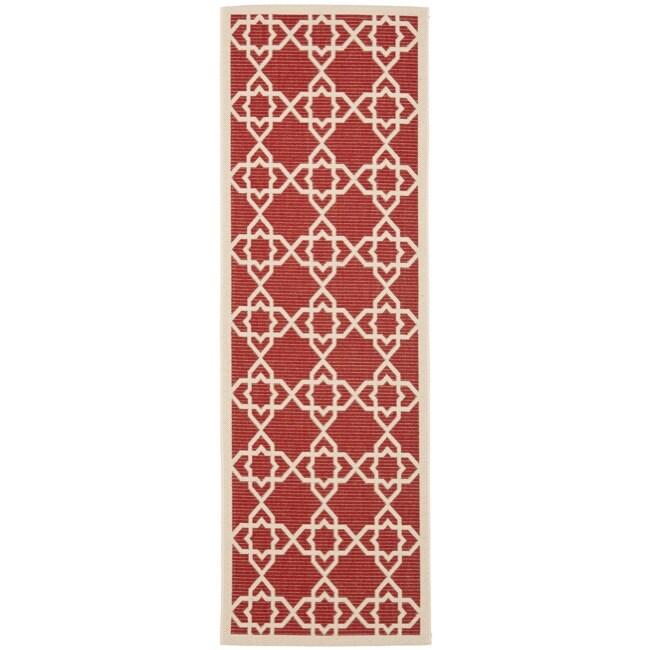 Safavieh Poolside Red/ Beige Indoor Outdoor Rug (2'4 x 6'7)