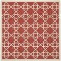 Poolside Red/ Beige Indoor Outdoor Rug (6'7 Square)