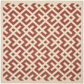Poolside Red/Bone Indoor/Outdoor Area Rug (6'7 Square)