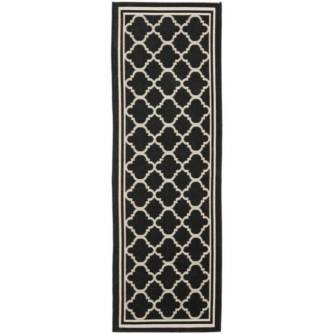 "Safavieh Long Poolside Black/Beige Indoor Outdoor Rug (2'4"" x 9'11"")"