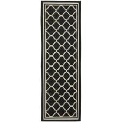 Long Poolside Black/Beige Indoor Outdoor Rug (2'4