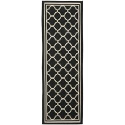 "Long Poolside Black/Beige Indoor Outdoor Rug (2'4"" x 9'11"")"