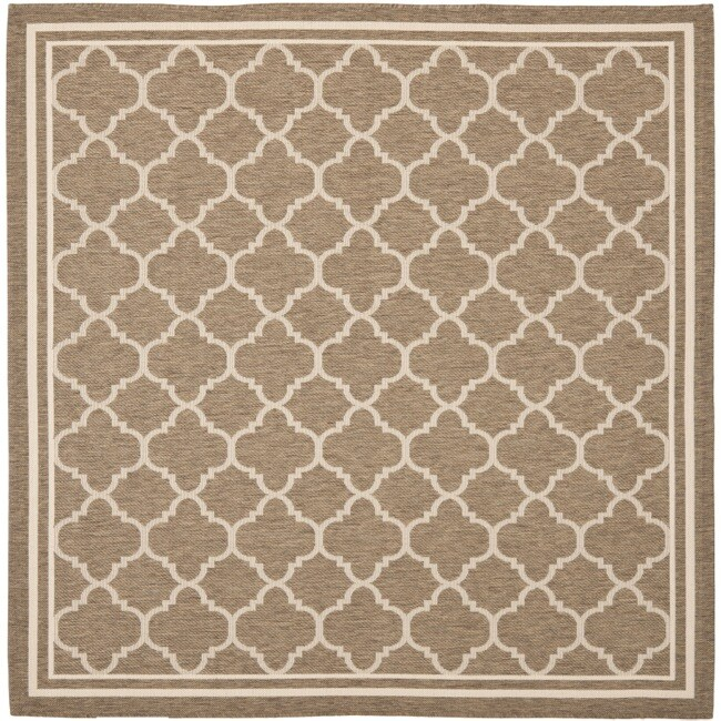 Indoor Outdoor Rugs Square: Safavieh Poolside Brown/Bone Indoor/Outdoor Polypropylene