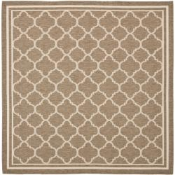 "Poolside Brown/Bone Indoor/Outdoor Polypropylene Rug (6'7"" Square)"