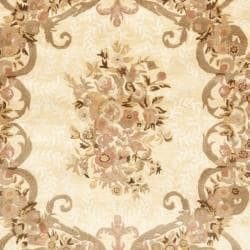 Handmade Aubusson Maisse Light Gold/ Red Wool Rug (6' x 9')