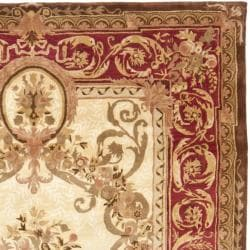 Handmade Aubusson Maisse Light Gold/ Red Wool Rug (8'3 x 11')