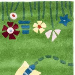 Safavieh Handmade Children's Summer Grass Green N. Z. Wool Rug (2'3 x 8')