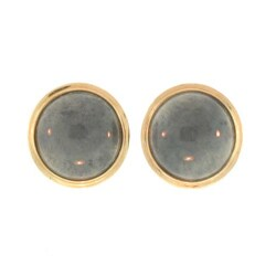 Mason Kay 14k Yellow Gold Grey Jadiete Button Earrings