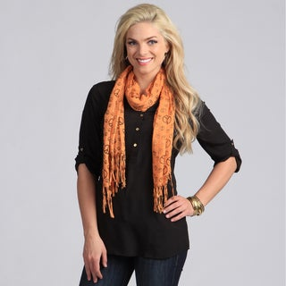 Peace Sign Print 100-percent Cotton Lightweight Orange Scarf