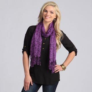 Peace Love Print Purple Scarf