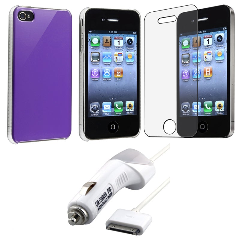 INSTEN Purple Phone Case Cover/ Screen Protector/ Car Charger for Apple iPhone 4S