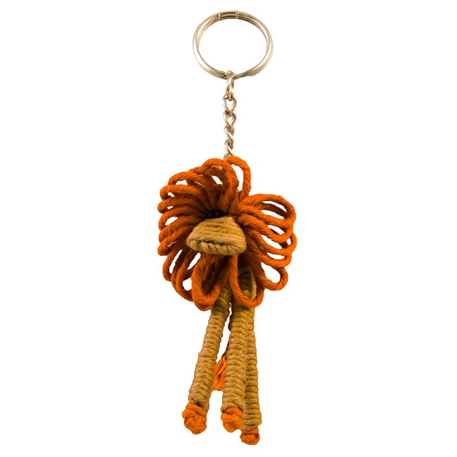 Handcrafted 'Skinny Lion' Yarn Keychain (Colombia)