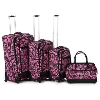Nicole Miller 'Wild Zebra' 4-piece Expandable Spinner Luggage Set