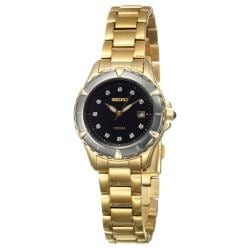 Seiko Women's 'Le Grand' Yellow Goldplated Steel Quartz Diamond Watch