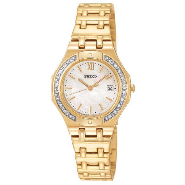 Seiko Women's 'Diamond' Yellow Goldplated Steel Quartz Watch